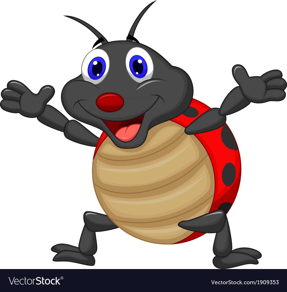 Happy ladybug cartoon vector   Price: 1 Credit (USD $1)