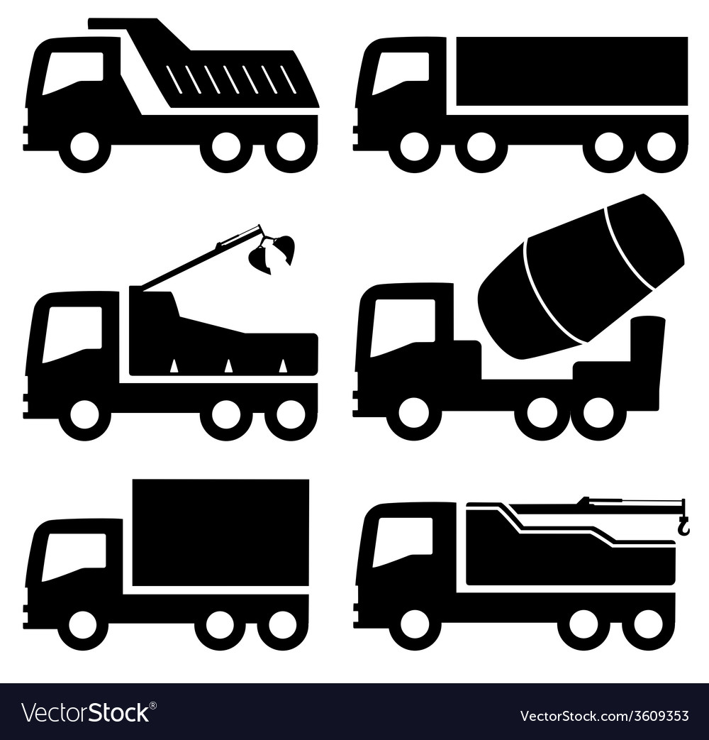 Industrial trucks icons set vector | Price: 1 Credit (USD $1)