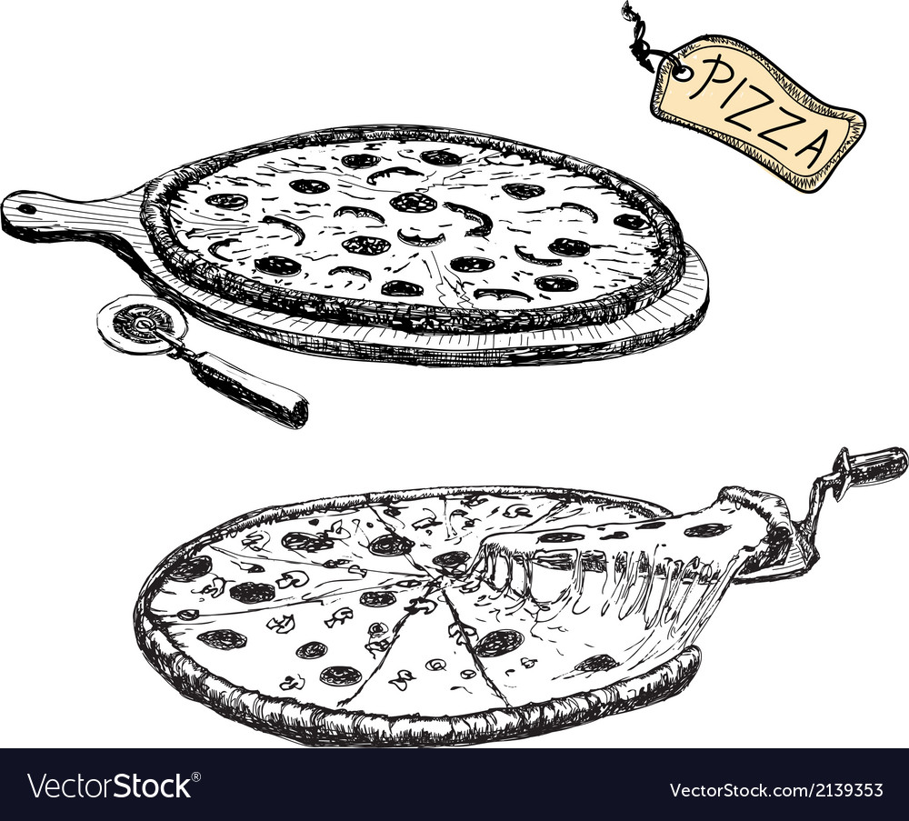 Pizza hand drawn vector | Price: 1 Credit (USD $1)