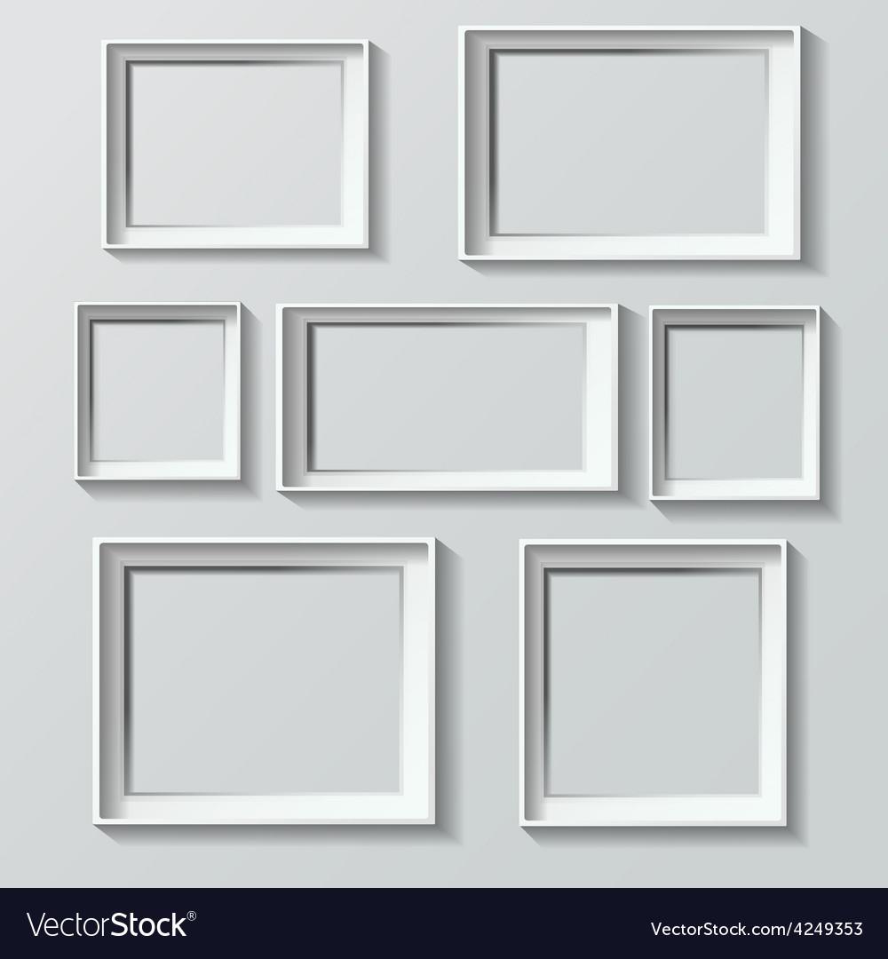 Set of white photo frames vector