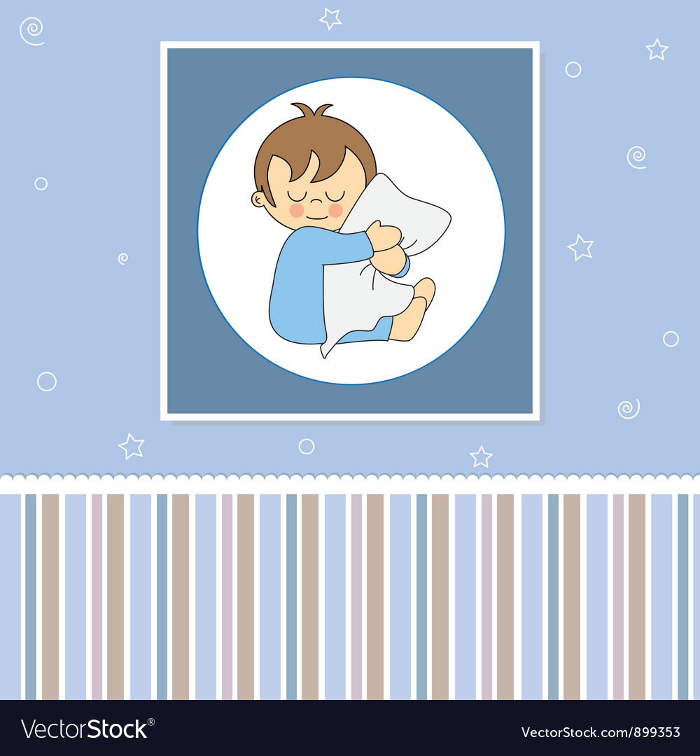 Sleeping child hugging the pillow vector | Price: 1 Credit (USD $1)