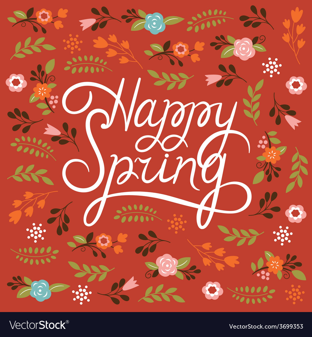 Spring card - lettering happy spring vector | Price: 1 Credit (USD $1)