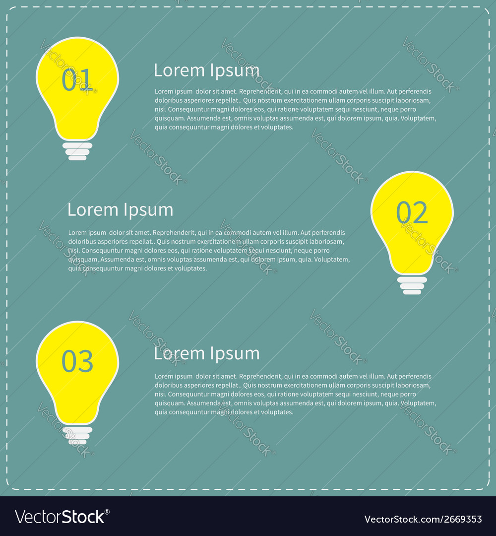 Three step business infographic with yellow light vector | Price: 1 Credit (USD $1)