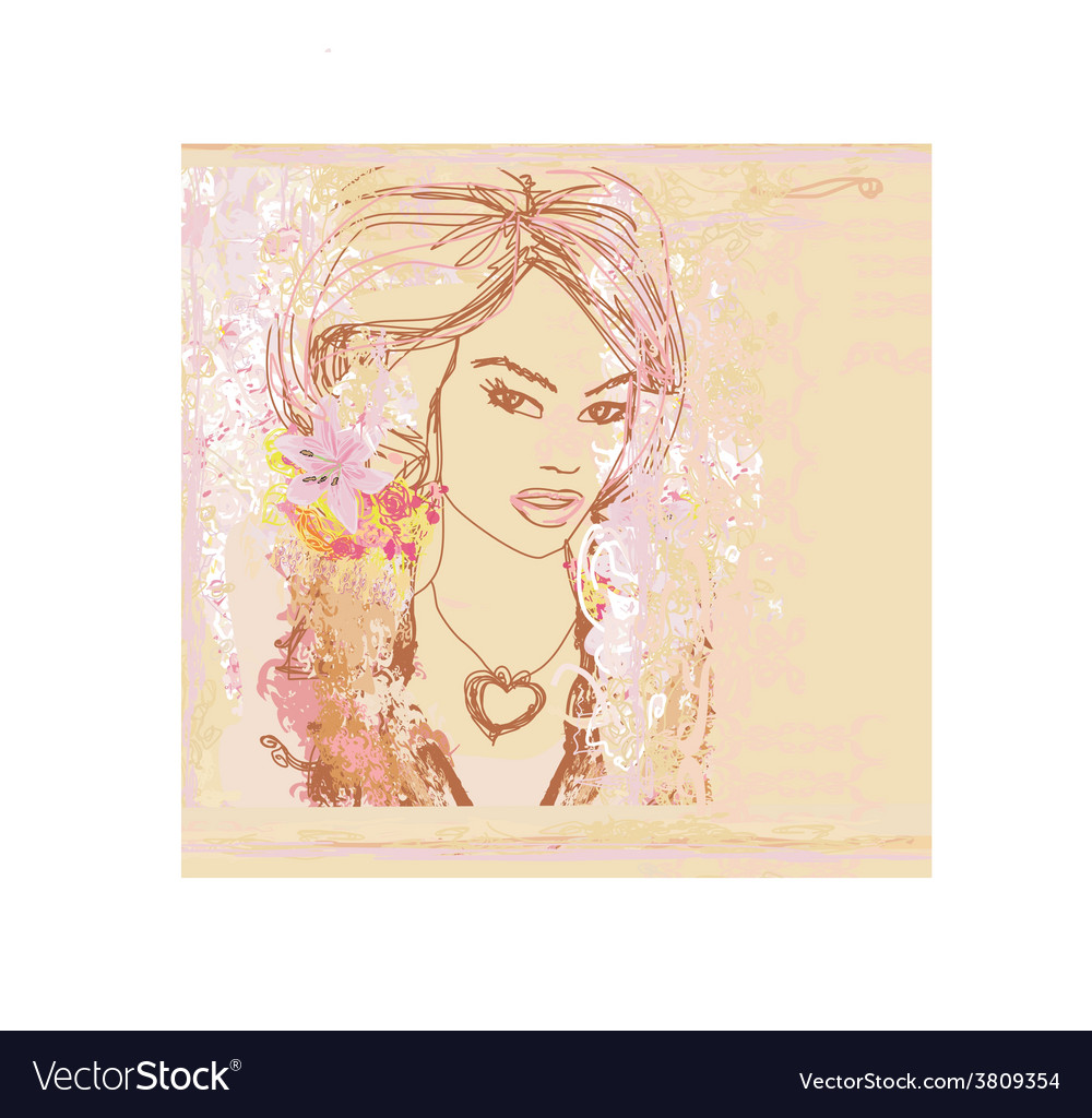 Abstract beautiful woman portrait - retro card vector | Price: 1 Credit (USD $1)