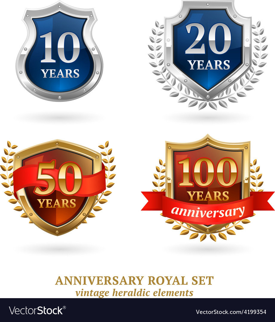 Anniversary golden heraldic labels set vector | Price: 1 Credit (USD $1)