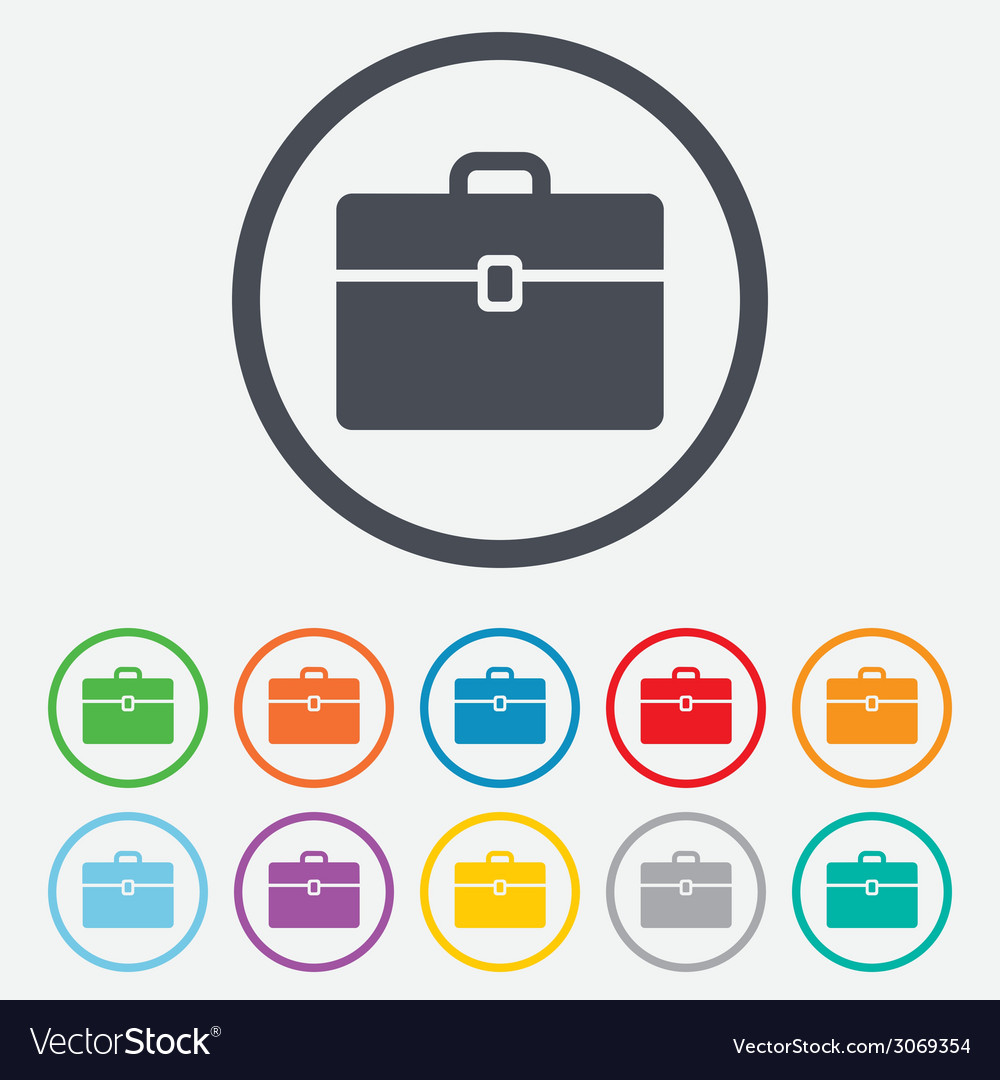Case sign icon briefcase button vector | Price: 1 Credit (USD $1)