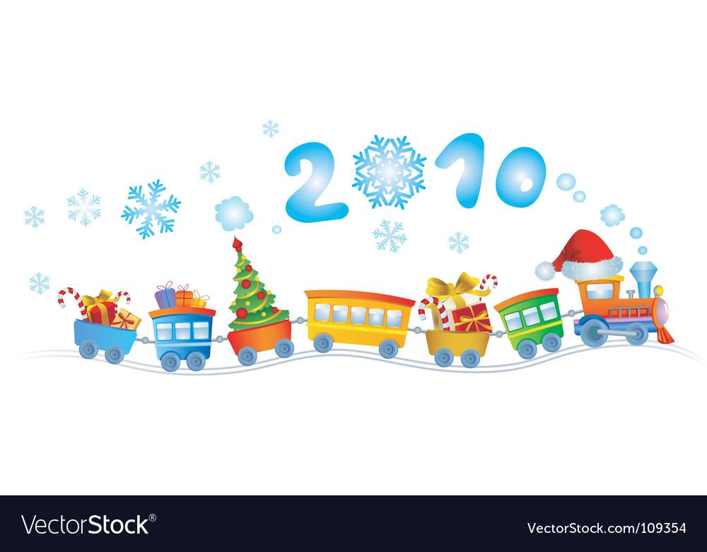 Christmas train 2010 vector | Price: 1 Credit (USD $1)
