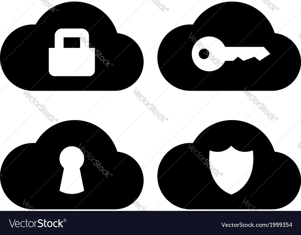 Cloud security icons set vector | Price: 1 Credit (USD $1)