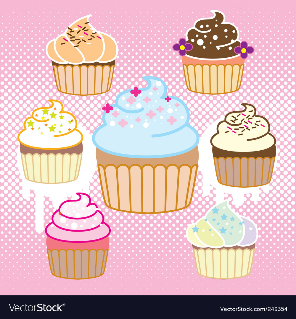 Cupcake with halftone vector | Price: 1 Credit (USD $1)