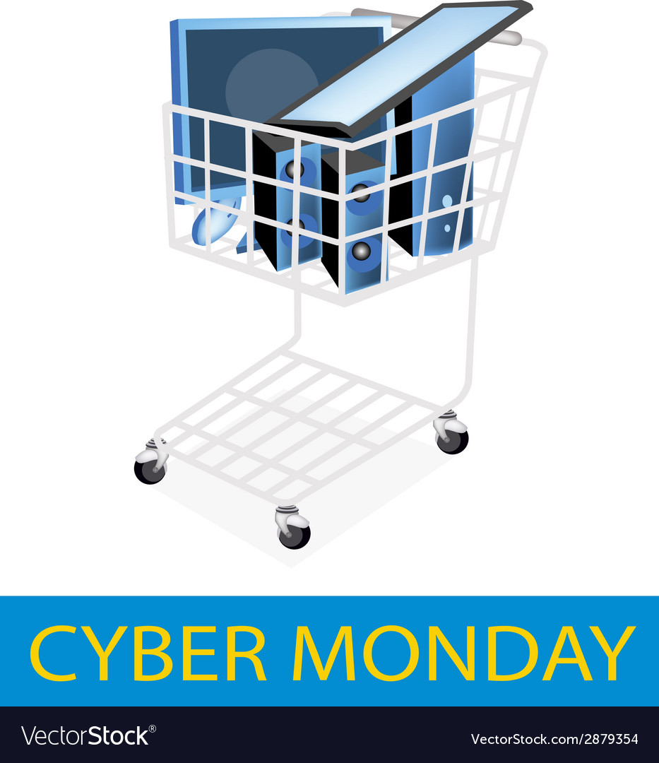 Desktop computer in cyber monday shopping cart vector | Price: 1 Credit (USD $1)