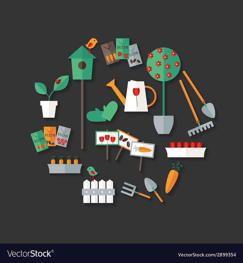 Gardening icons set over dark grey vector   Price: 1 Credit (USD $1)