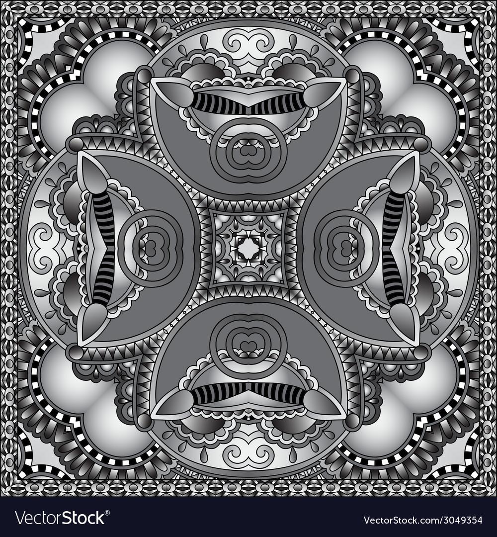 Grey ornamental floral paisley bandanna vector   Price: 1 Credit (USD $1)