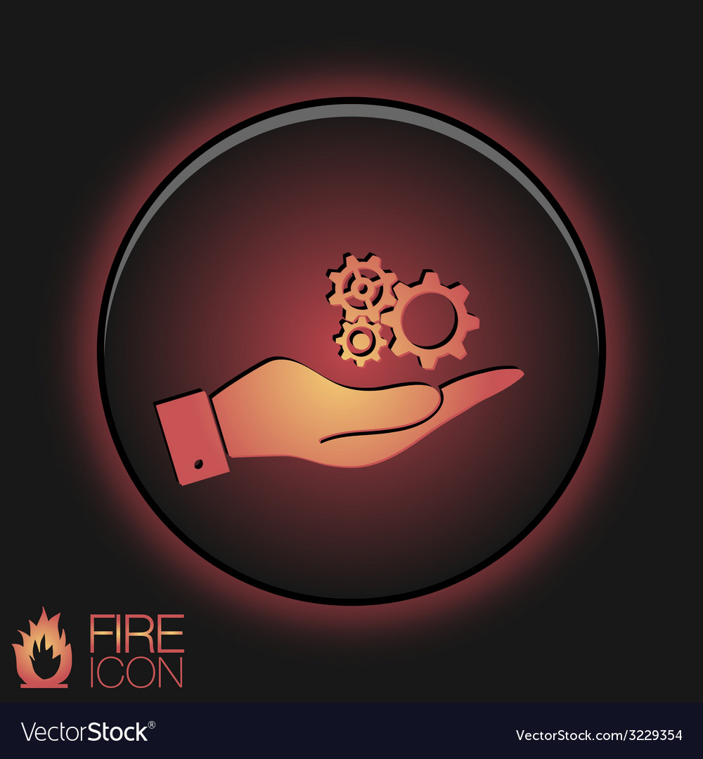 Hand holding a symbol settings cogwheel icon vector | Price: 1 Credit (USD $1)