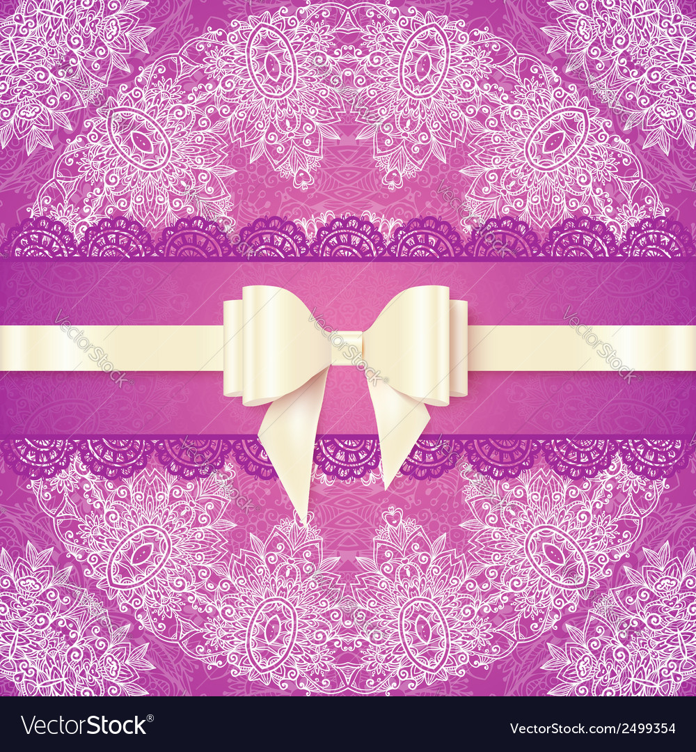Pink lacy wedding card template with silky bow vector | Price: 1 Credit (USD $1)