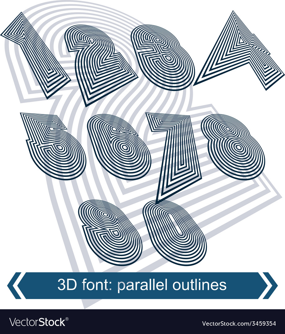Rotated striped dimensional numbers geometric vector | Price: 1 Credit (USD $1)