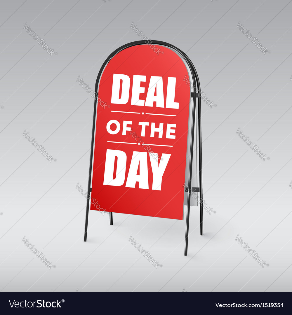 Sandwich board with an inscription deal of the day vector | Price: 1 Credit (USD $1)