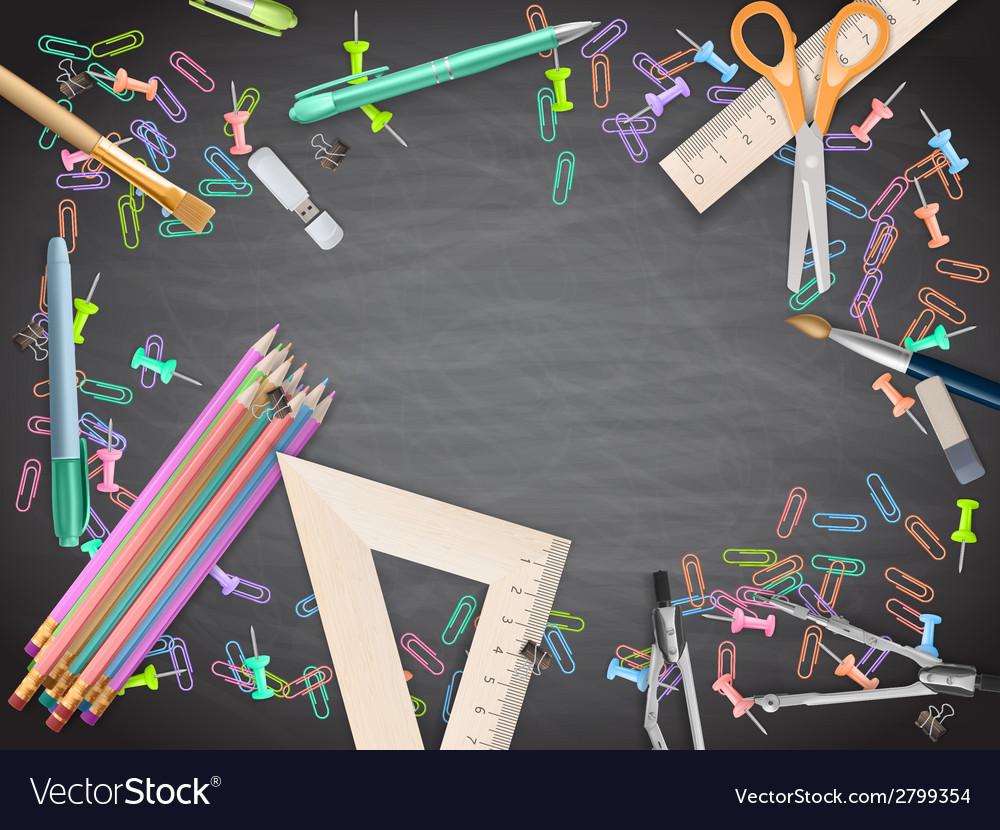 School supplies on blackboard background eps 10 vector | Price: 1 Credit (USD $1)