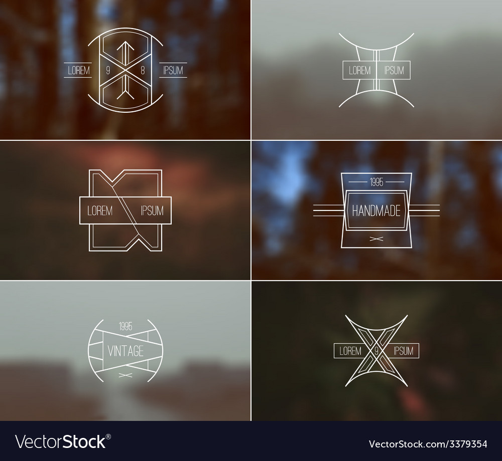 Set of retro badges and blurred background vector | Price: 1 Credit (USD $1)
