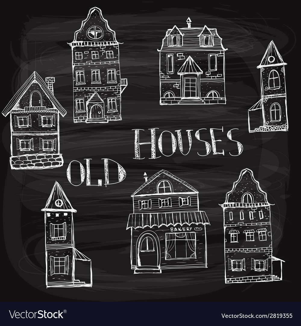 7 old styled houses vector | Price: 1 Credit (USD $1)