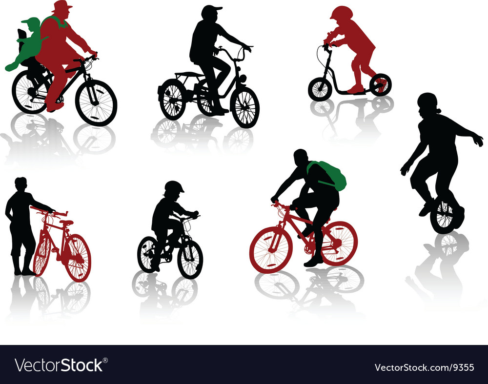 Bicycle rdiers silhouettes vector | Price: 3 Credit (USD $3)