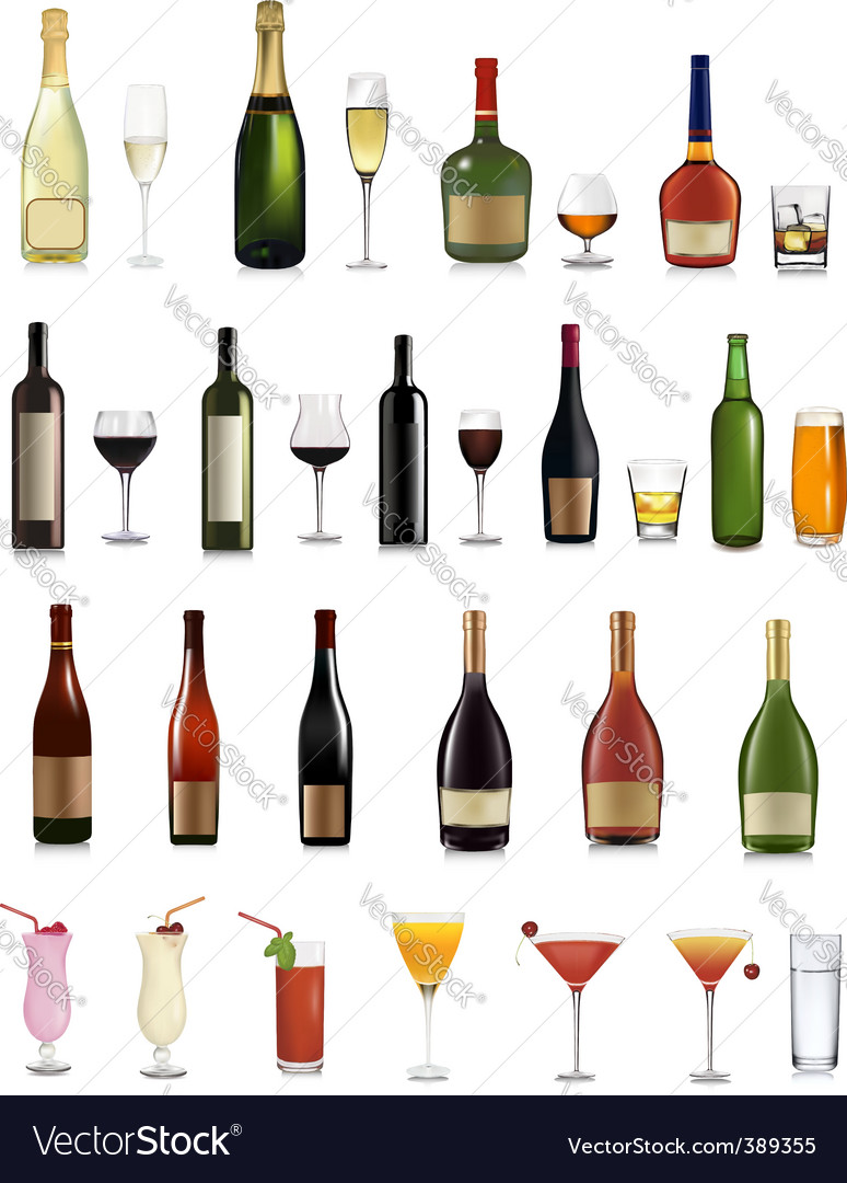 Bottles and glasses vector | Price: 3 Credit (USD $3)