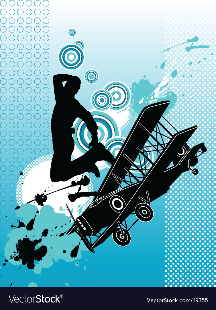 Dancer with airplane vector | Price: 1 Credit (USD $1)