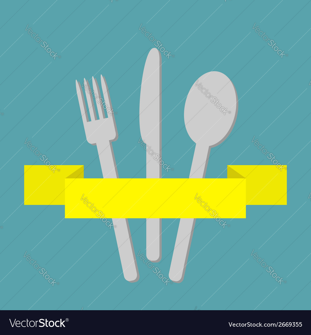 Fork spoon and knife inside yellow ribbon menu vector | Price: 1 Credit (USD $1)