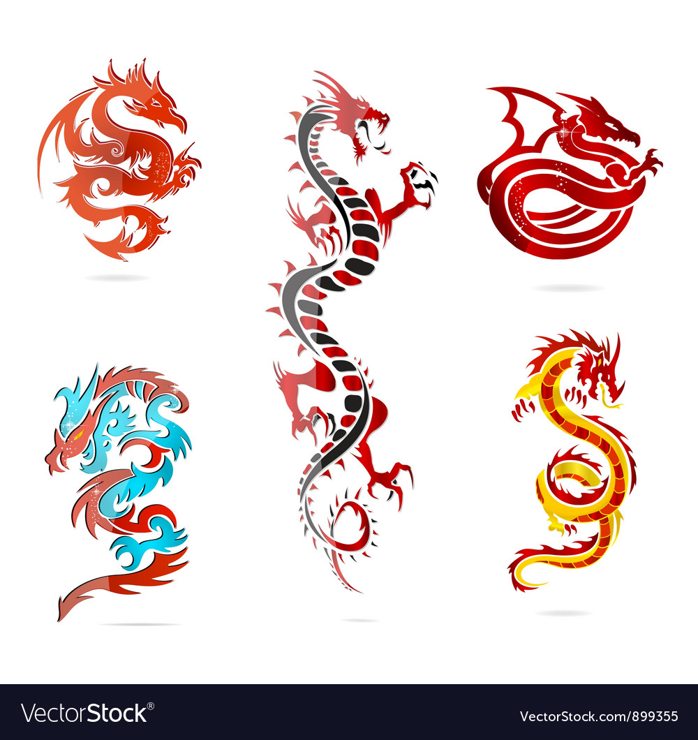 Glass asia hot dragon colored sign set vector | Price: 3 Credit (USD $3)