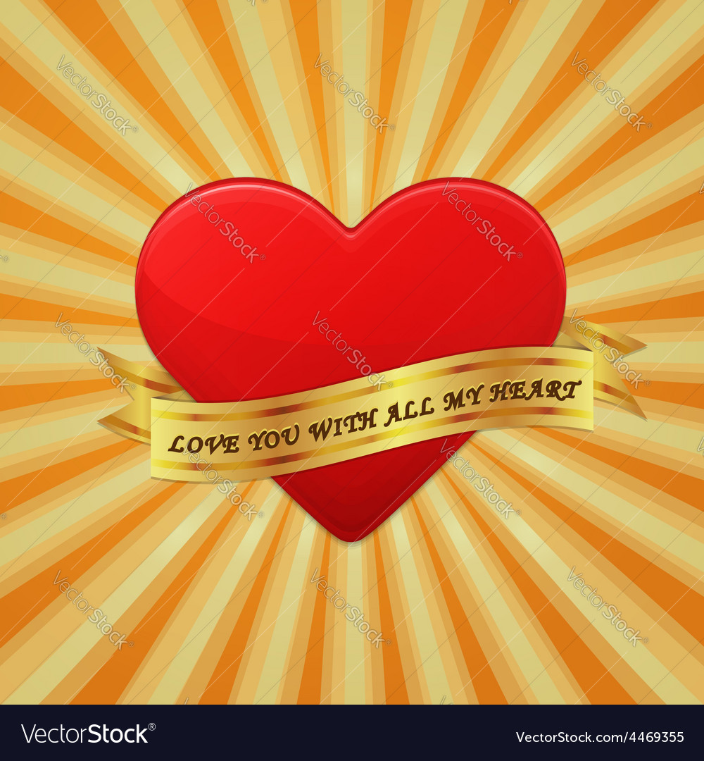 Heart with ribbon and phrase love you with all my vector | Price: 1 Credit (USD $1)
