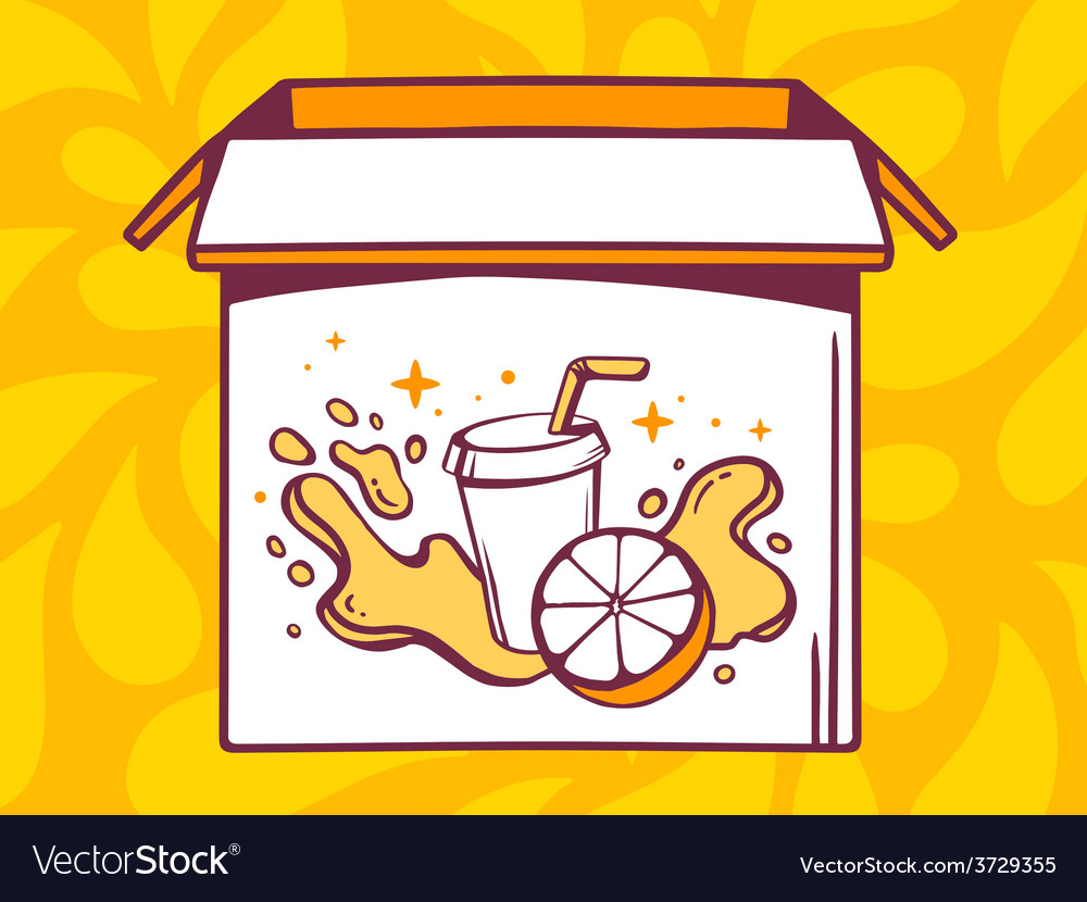 Open box with icon of fresh fruit juice vector | Price: 1 Credit (USD $1)
