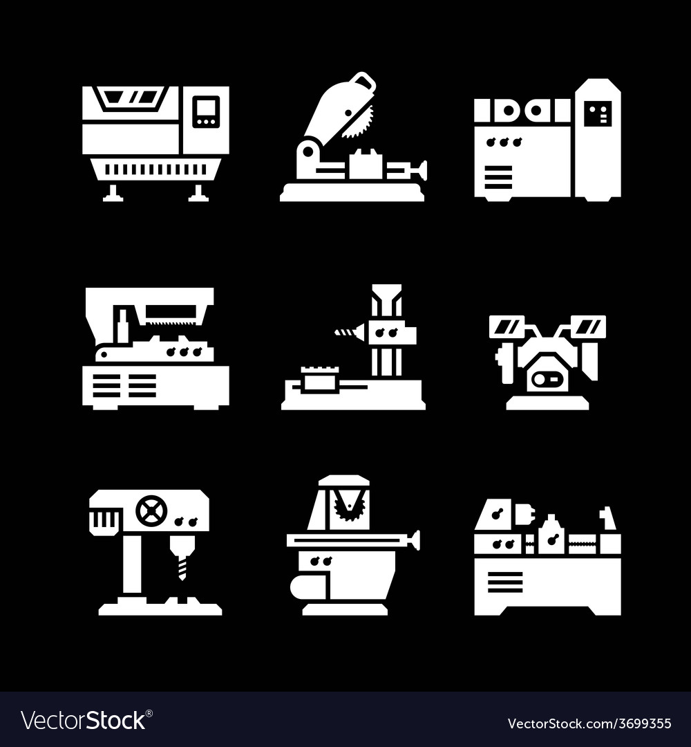 Set icons of machine tool vector | Price: 1 Credit (USD $1)