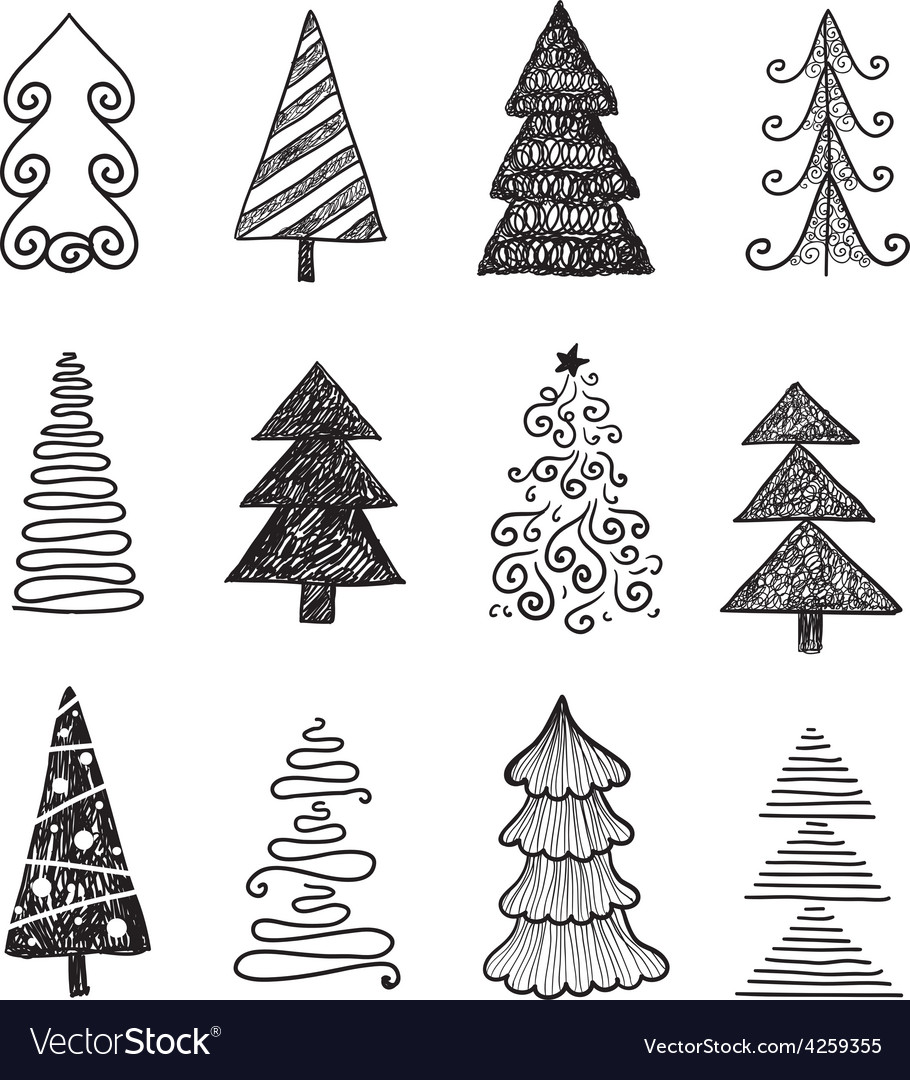 Set of doodle hand drawn christmas trees vector | Price: 1 Credit (USD $1)