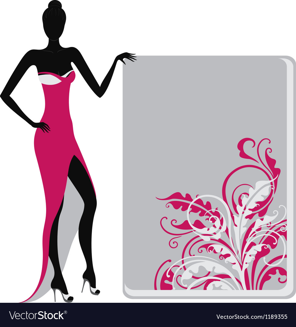 Silhouette of a girl holding banner vector | Price: 1 Credit (USD $1)