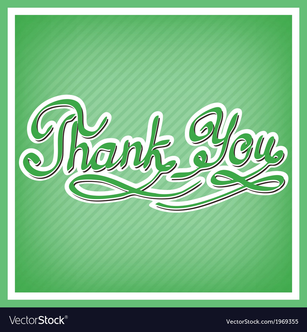 Thank you card with handwritten letters vector | Price: 1 Credit (USD $1)