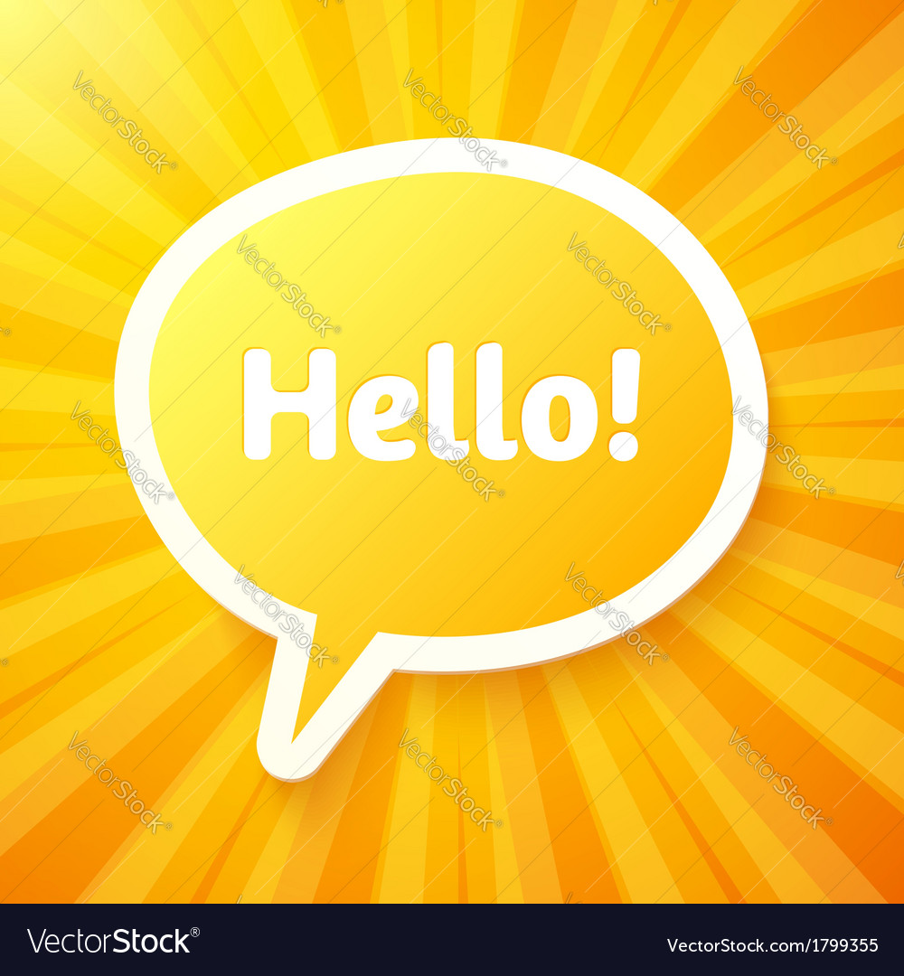 Yellow speech bubble with sign hello vector | Price: 1 Credit (USD $1)