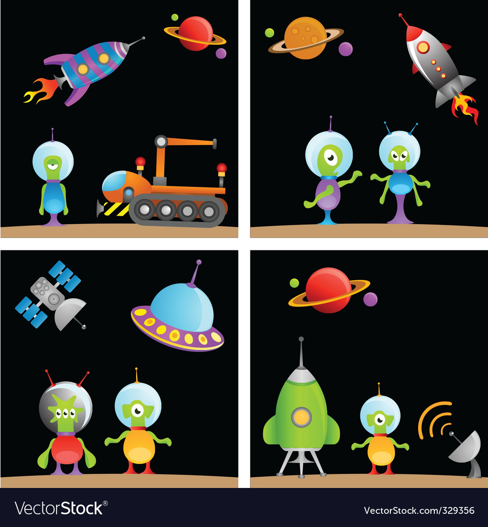Alien cartoon vector | Price: 1 Credit (USD $1)