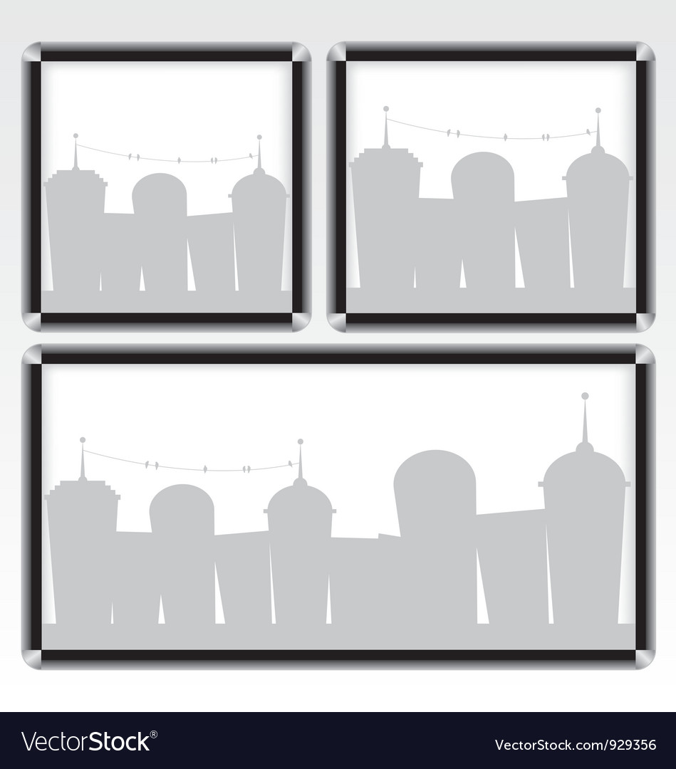 Black frame and city vector | Price: 1 Credit (USD $1)
