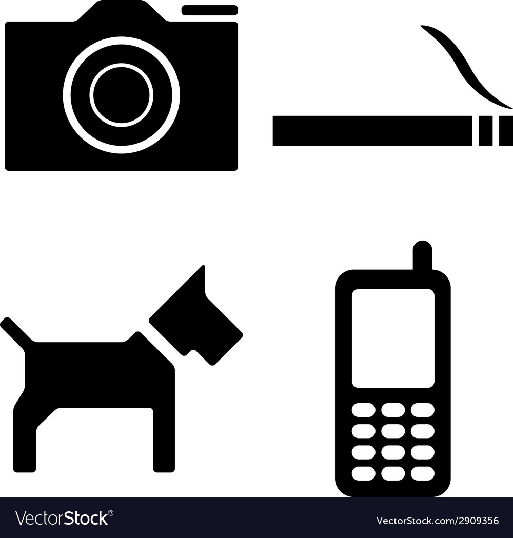 Dog camera cigarette phone icons vector | Price: 1 Credit (USD $1)