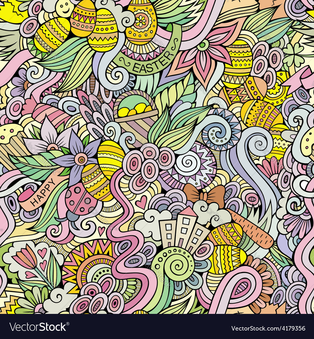 Easter doodles seamless pattern vector | Price: 1 Credit (USD $1)