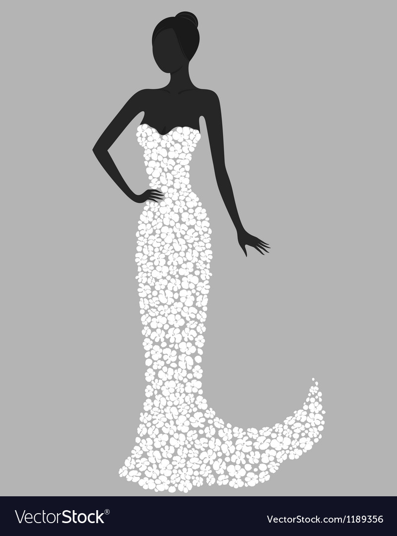 Gorgeous girl in white flower dress vector | Price: 1 Credit (USD $1)