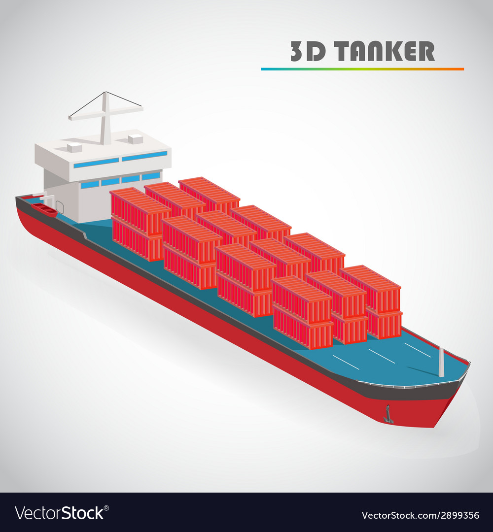 Isometric 3d tanker with freight container icon vector | Price: 1 Credit (USD $1)