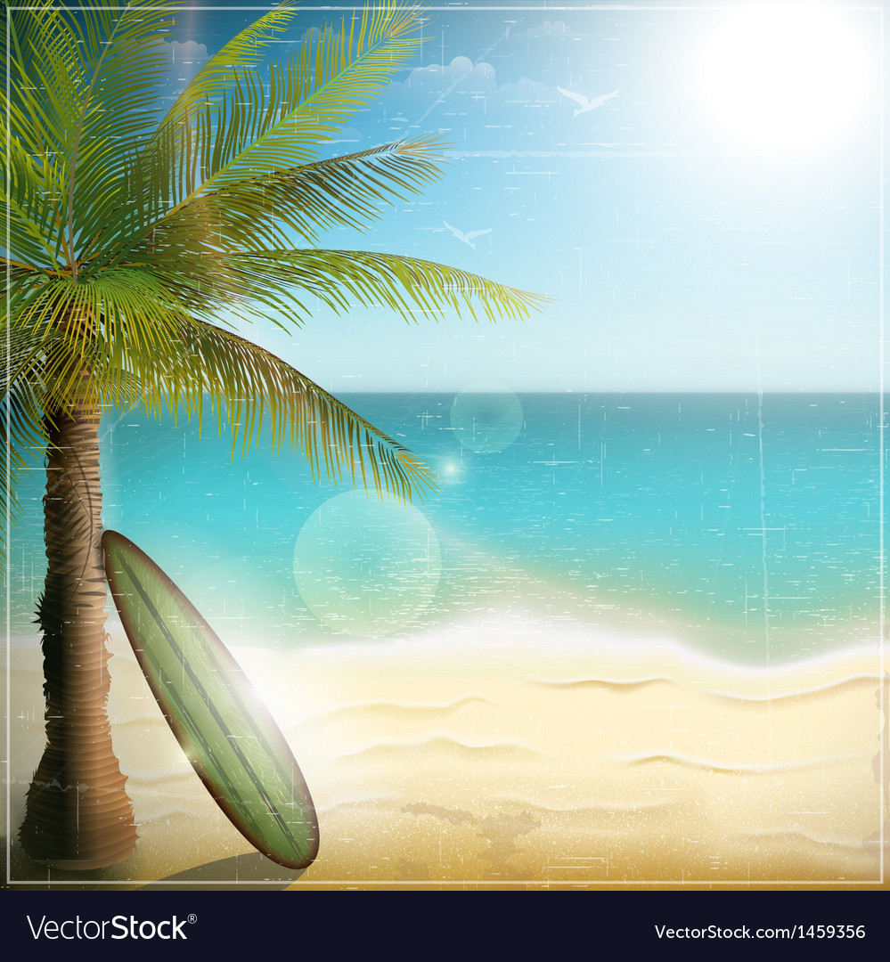 Ocean beach with surf board vector | Price: 3 Credit (USD $3)