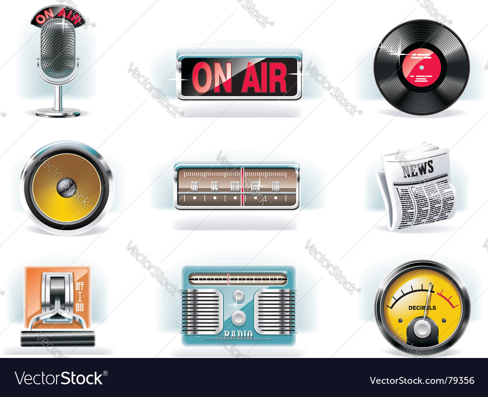 Radio icon set white background vector | Price: 5 Credit (USD $5)