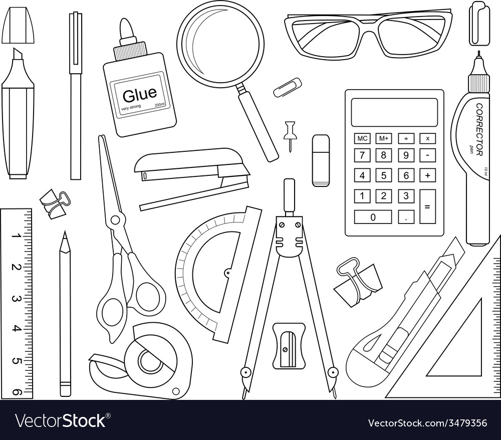Set of stationery tools lineart vector