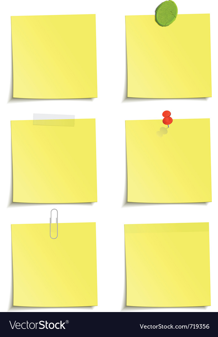 Set of yellow notes vector | Price: 1 Credit (USD $1)