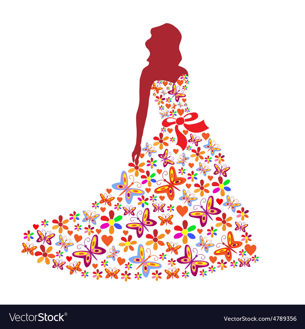 Silhouette of a girl in a dress vector