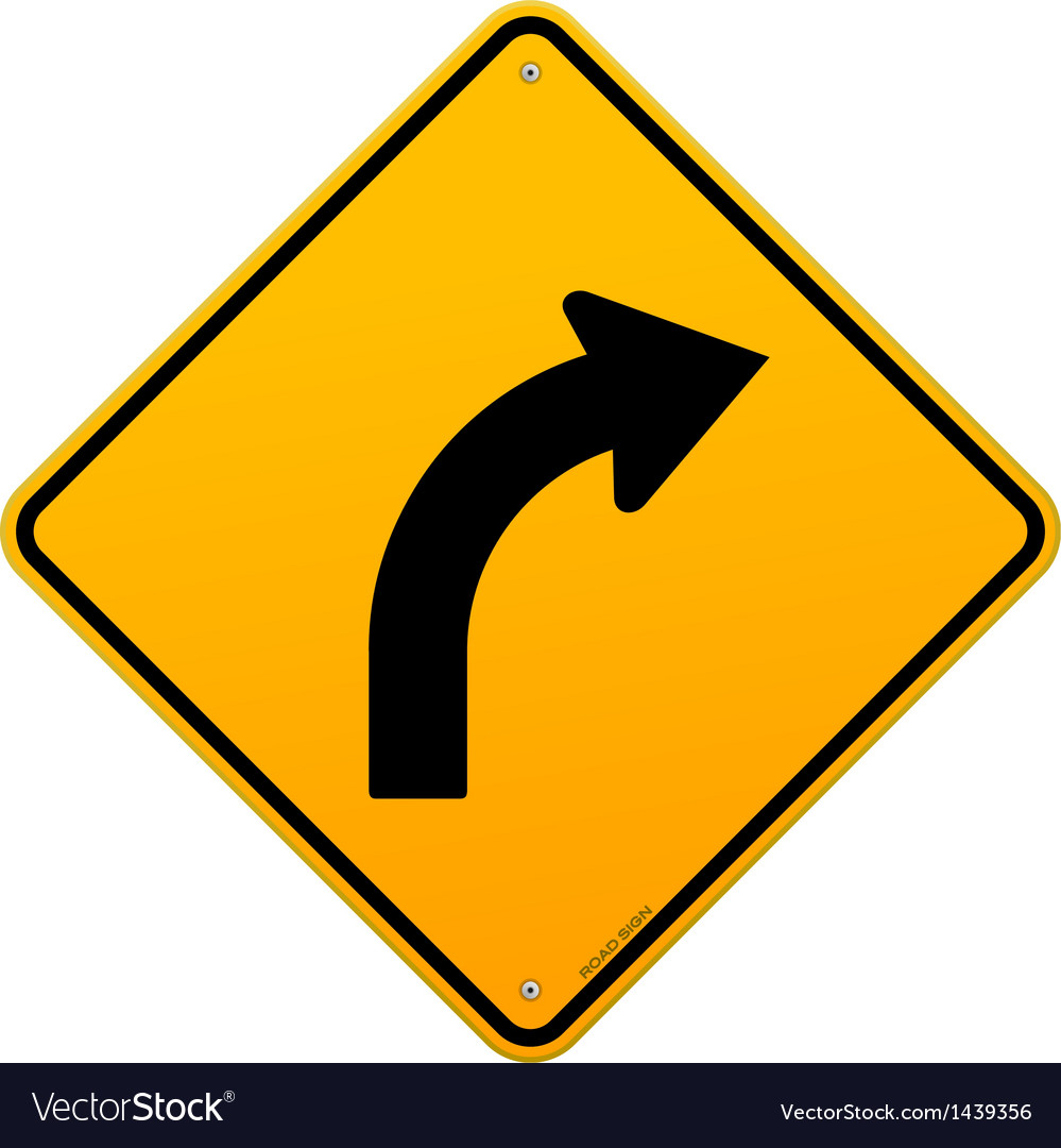 Yellow curve sign vector | Price: 1 Credit (USD $1)