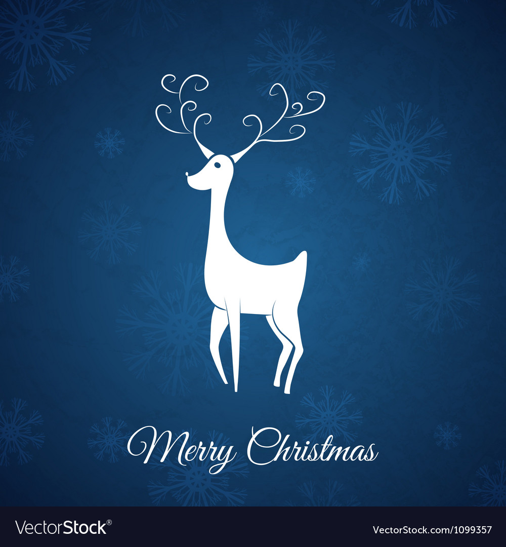Blue christmas postcard whit christmas deer vector | Price: 1 Credit (USD $1)