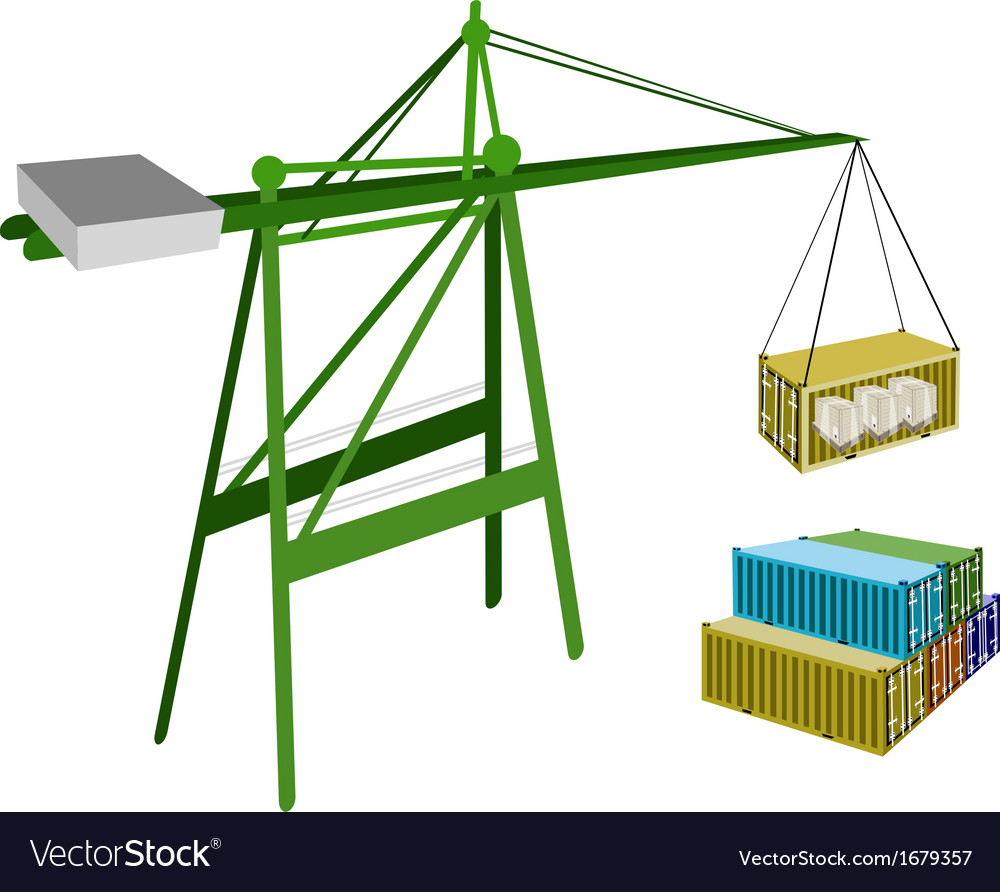 Cargo container being hoisted by a crane vector | Price: 1 Credit (USD $1)