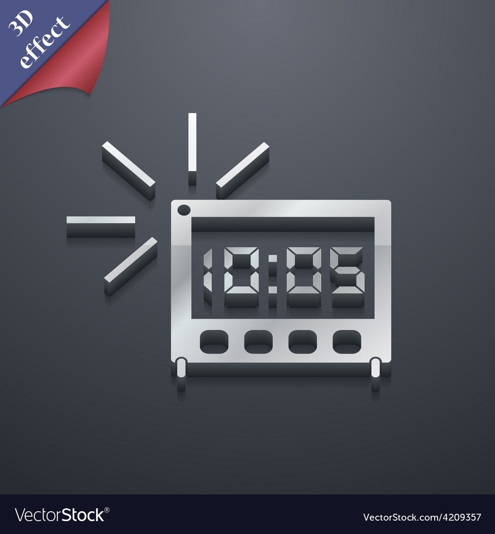 Digital alarm clock icon symbol 3d style trendy vector | Price: 1 Credit (USD $1)
